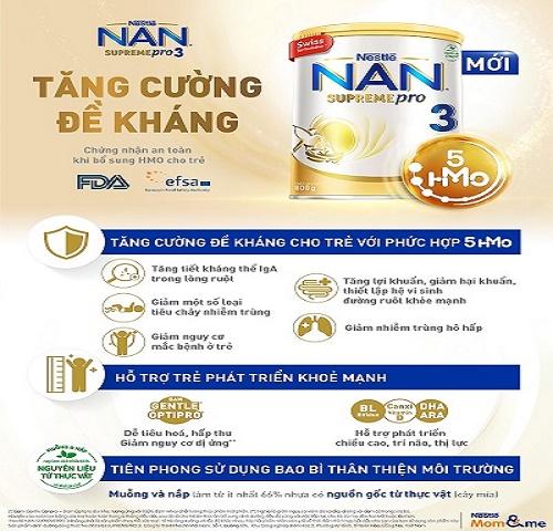 Nestlé Việt Nam chính thức ra mắt sản phẩm  NAN SUPREME PRO 3 với công thức đột phá bổ sung 5 loại HMOs, giúp trẻ tăng cường sức đề kháng